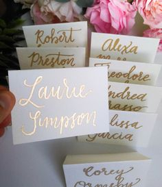 Delight your guests with stunning metallic gold calligraphy name cards/escort cards. Each card is cut from thick 140 lb matte paper. I use