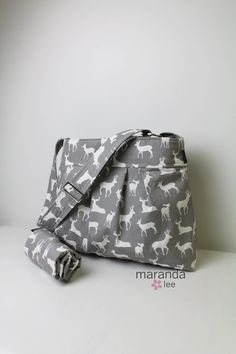 Emma Large Diaper Bag Set with Changing Mat Grey by marandalee