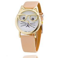 Fashion Cat Glasses Leather Band Watch Leopard Print Ladies Wristwatch