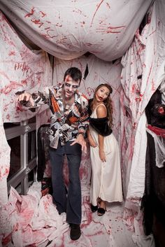 Zombie Party ideas: Zombie DIY photo booth idea. So simple, easy, and appropriately gross.   the Duck Dive