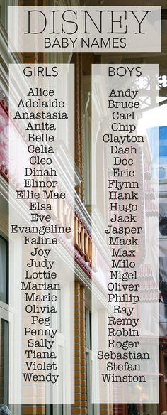 Baby Names from Disney and Pixar Movies