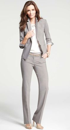 f366df2217 Ann Taylor - grey suit Office Outfits Women