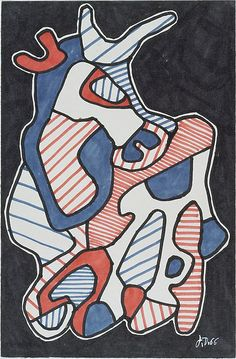 """Cow"" by Jean Dubuffet, 1966; ink marker on paper"