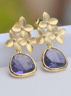 amethyst & gold earrings.