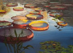 """Mark Farina, """"Giant Victoria Lily Pads,"""" Oil 14"""" x 18"""" $2,800 (""""Reflections in Water"""" at St. Mary's College Museum of Art, June - August 2016)"""