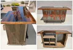 Both an indoor or outdoor rolling bar for a variety of needs. Even a spot for a mini fridge.