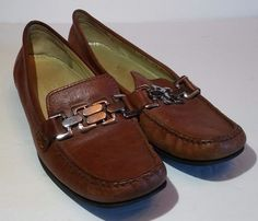 Cole Haan Slip On Loafers Womens Sz 8 B Brown Leather Casual Dress Shoes #ColeHaan #LoafersMoccasins #Casual