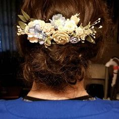 Emily Toups added a photo of their purchase Wrist Corsage Wedding, Flower Headpiece Wedding, Bridesmaid Corsage, Flower Crown Wedding, Wedding Hair Flowers, Bridal Flowers, Flowers In Hair, Blue Bridesmaids, Flower Hair