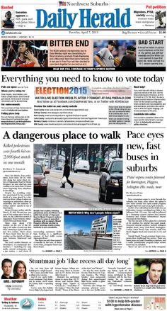Daily Herald front page, April 7, 2015; http://eedition.dailyherald.com/