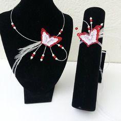 Parure enfant collier, bracelet papillon de dentelle blanc et rouge