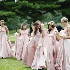 Lovely Bridal Party Rocking The Twist Dressin Blush Color By Dessygroup Bridalparty Bridesmaid Dresses Plus Sizewedding