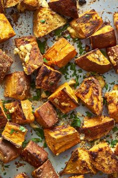 You'll never go back to plain roasted sweet potatoes again. Parmesan garlic sweet potatoes