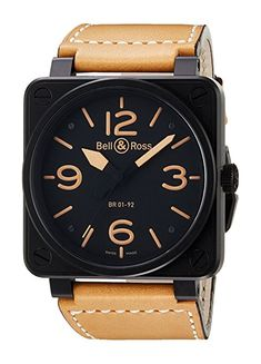 Bell & Ross Men's BR01-92-HERITAGE Avation Watch with Brown Strap
