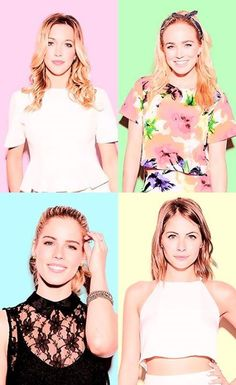Katie Cassidy as Laurel Lance, Caity Loitz as Sara Lance, Emily Bett Rickards as Felicity Smoak, and Willa Holland as Thea Queen. Willa Holland, Thea Queen, Arrow Cast, Arrow Tv, Emily Bett Rickards, Colton Haynes, Stephen Amell, Gorgeous Women, Beautiful People