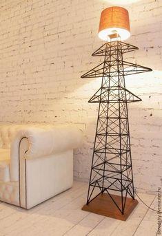 """Купить Торшер """"Опора ЛЭП"""". - черный, лампа, торшер, ЛЭП, электричество, лофт, loft, steampunk"""