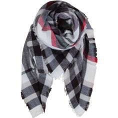 Humble Chic NY Plaid Blanket Scarf ($38) ❤ liked on Polyvore featuring accessories, scarves, white, sheer scarves, plaid blanket scarf, sheer shawl, tartan scarves and plaid scarves