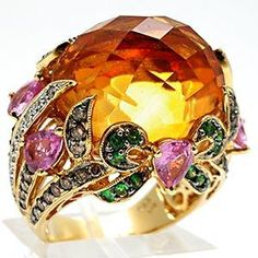 Citrine Pink Sapphire Tsavorite Garnet & Diamond Cocktail Ring Solid 18K