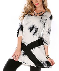Take+a+look+at+the+Aster+Black+&+White+Tie-Dye+Tunic+on+#zulily+today!