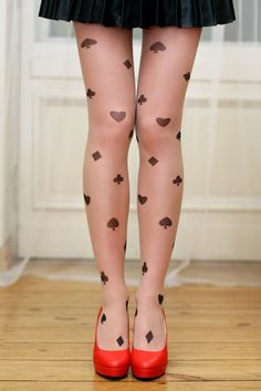 Love these four-suits of playing cards tights. The red heels give the needed pop of color.  <3 <3