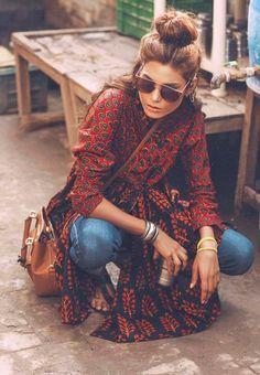 Kimono + Jeans = Boho Street Style