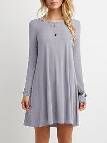 Casual Grey Shift Long Sleeve Dress