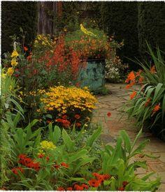 yellow orange red in sunset garden (gardening at sissinghurst - Tony Lord) by lynetter, via Flickr
