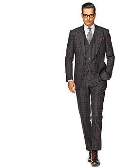 Suit Dark Grey Check Washington Half 3p P3430   Suitsupply Online Store