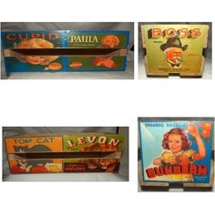DECORATIVE Wooden Fruit Crate Carton Box w/ Cool Labels - Pic shows all 4 sides!