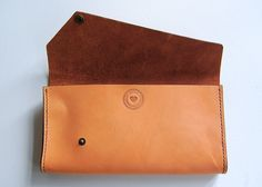 Caramel Emma Bag Handmade leather clutch by CherryBombLeather