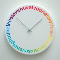 Rainbow typography clock