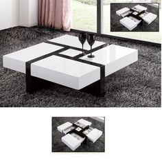 Nova Extendable High Gloss Coffee Table In White With Storage - Best Sellers, Furniture In Fashion