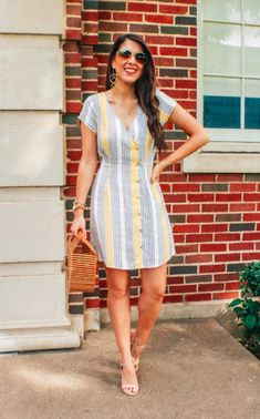 Sharing so many cute Target Summer Dresses today! Striped Dress Outfit, Cute Dress Outfits, Summer Dress Outfits, Casual Summer Dresses, Spring Outfits, Cute Dresses, Casual Outfits, Stripe Dress, Summer Clothes