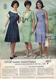 1965 Carefully Detailed Fashions I love that navy dress with the white collars and cuffs! Sixties Fashion, Retro Fashion, Vintage Fashion, Womens Fashion, Fashion 2020, 1960s Dresses, Vintage Dresses, Vintage Outfits, Mode Vintage