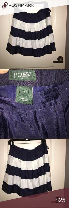 J Crew Navy and White Stripe Skirt J Crew Navy and White Stripe Skirt. Size 8. Worn twice! J. Crew Skirts A-Line or Full