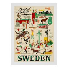 #Swedenland of contrastsvintage travel poster - #travel #trip #journey #tour #voyage #vacationtrip #vaction #traveling #travelling #gifts #giftideas #idea