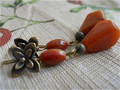 Flowers and Stone Earrings in Deep Butterscotch by JoJosgems, $16.00