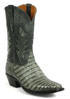 """STYLE# 6324 SANTA FE INLAY WITH STITCH #310 VAMP: CAIMAN BELLY GREY SHAFT: DEER OLD FORGE BLACK HEIGHT: 12"""" SCALLOP: 3 TOE: V HEEL: 4 Custom-Made Boots by Black Jack These Black Jack Boots will be mad"""