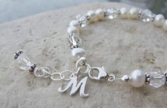 Sterling Initial, Swarovski and Freshwater Pearl Baby Child Bracelet B131. $25.00, via Etsy.
