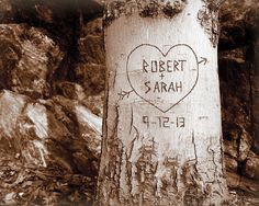 Forever My Love Tree - Personalized Couples Print -  Names Carved in Tree - Custom Gift for Him or Her -  Engagement, Newlywed, Valentine