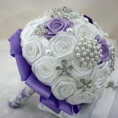 Handmade Bride Wedding Bouquet White Purple Contrast High Quality New Arrival 1pc Free Shipping 0429B21 #dhgatePin