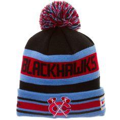 Chicago Blackhawks Chicago Flag Multi-Logo Black Knit Hat by New Era #Chicago #Blackhawks #ChicagoBlackhawks