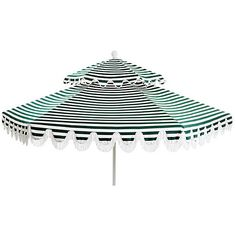 Daiana Two-Tier Patio Umbrella Forest Green/White Acrylic / Lucite... ($539) ❤ liked on Polyvore featuring home, outdoors, patio umbrellas, white outdoor umbrella, outdoor umbrella, white umbrella base, white patio umbrella and outdoor patio umbrellas