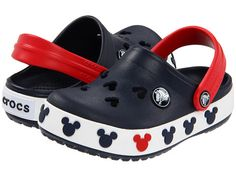 Crocs Crocband Mickey II Clog (Toddler/Little M US Toddler. Slip-on clog featuring Mickey Mouse-shape cutouts at vamp and molded Mickey ears at midsole. Disney Crocs, Cute Baby Shoes, Boy Shoes, Toddler Crocs, Clogs Outfit, Crocs Crocband, Baby Sneakers, Baby Boy Fashion, Kid Outfits