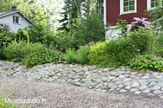 Tee itse kivetty rinne | Meidän Talo Garden Hoe, Garden Cottage, Dream Garden, Home And Garden, Garden Planning, Garden Inspiration, Garden Landscaping, Stepping Stones, Outdoor Gardens