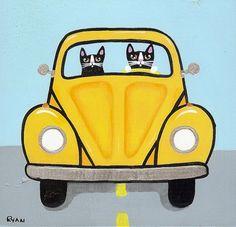 Volkswagen Road Trip Cats Original Folk Art by KilkennycatArt, $35.00