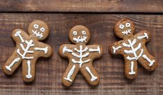 Feast your eyes on our spooky skeletons! These ghoulish gingerbread men will be a delicious treat for any trick or treaters! What you'll need 350g Plain Flour 125g Butter (softened) 1 Egg (beaten) 175g Brown Sugar 1 tsp Ground Cinnamon 1 tsp Bicarbonate of Soda 4 tbsp Golden Syrup 2 tsp Ground Ginger White icing to decorate  Tap for method Gingerbread Men, Gingerbread Cookies, Scary Halloween Food, White Icing, Golden Syrup, Ground Cinnamon, 1 Egg, Skeletons, Tray Bakes