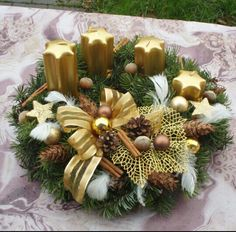 Adventni venec Christmas Deco, Christmas Wreaths, Advent Wreath, Xmas Decorations, Halloween, Handmade, Home Decor, Advent, Candle Arrangements
