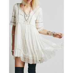 White V Neck Lace Embroidery Ruffle Hem Dress (1 145 UAH) ❤ liked on Polyvore featuring dresses, embroidered lace dress, lace dress, lacy dress, white lace dress and vneck dress