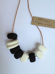 CHANGE OF HEART Large Bead Necklace - Black and white. $35.00, via Etsy.