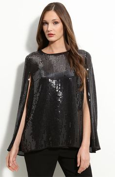 Silk and sequined black cape blouse